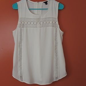 Ann Taylor ivory sleeveless blouse